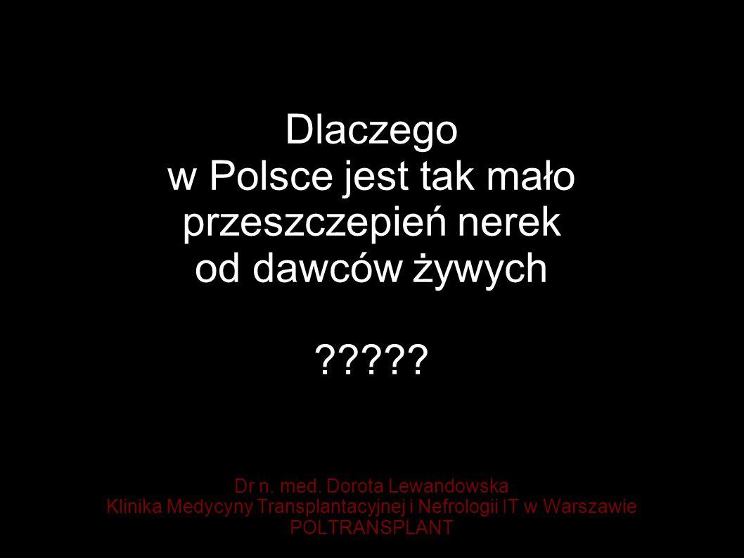 Dlaczego w Polsce jest tak mało przeszczepień nerek od dawców żywych .