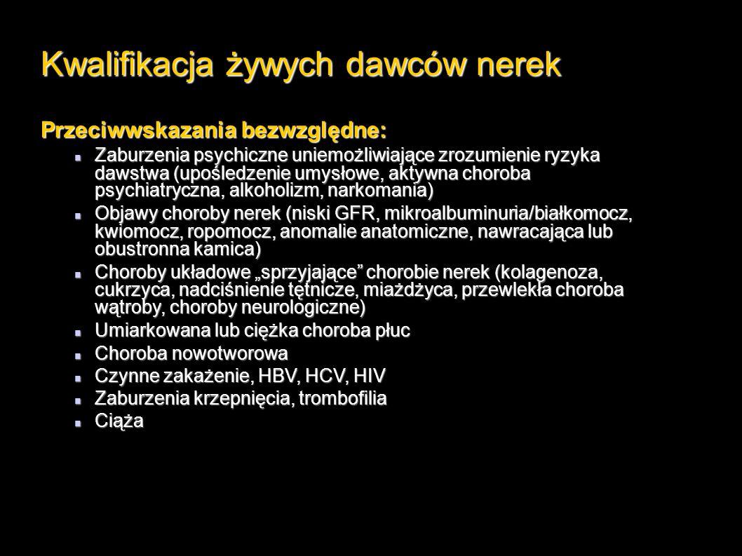 """Kwalifikacja żywych dawców nerek Przeciwwskazania bezwzględne: Zaburzenia psychiczne uniemożliwiające zrozumienie ryzyka dawstwa (upośledzenie umysłowe, aktywna choroba psychiatryczna, alkoholizm, narkomania) Zaburzenia psychiczne uniemożliwiające zrozumienie ryzyka dawstwa (upośledzenie umysłowe, aktywna choroba psychiatryczna, alkoholizm, narkomania) Objawy choroby nerek (niski GFR, mikroalbuminuria/białkomocz, kwiomocz, ropomocz, anomalie anatomiczne, nawracająca lub obustronna kamica) Objawy choroby nerek (niski GFR, mikroalbuminuria/białkomocz, kwiomocz, ropomocz, anomalie anatomiczne, nawracająca lub obustronna kamica) Choroby układowe """"sprzyjające chorobie nerek (kolagenoza, cukrzyca, nadciśnienie tętnicze, miażdżyca, przewlekła choroba wątroby, choroby neurologiczne) Choroby układowe """"sprzyjające chorobie nerek (kolagenoza, cukrzyca, nadciśnienie tętnicze, miażdżyca, przewlekła choroba wątroby, choroby neurologiczne) Umiarkowana lub ciężka choroba płuc Umiarkowana lub ciężka choroba płuc Choroba nowotworowa Choroba nowotworowa Czynne zakażenie, HBV, HCV, HIV Czynne zakażenie, HBV, HCV, HIV Zaburzenia krzepnięcia, trombofilia Zaburzenia krzepnięcia, trombofilia Ciąża Ciąża"""