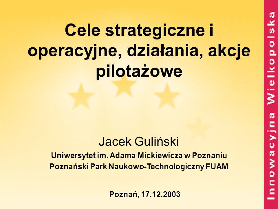 Cele strategiczne i operacyjne, działania, akcje pilotażowe Jacek Guliński Uniwersytet im. Adama Mickiewicza w Poznaniu Poznański Park Naukowo-Technol