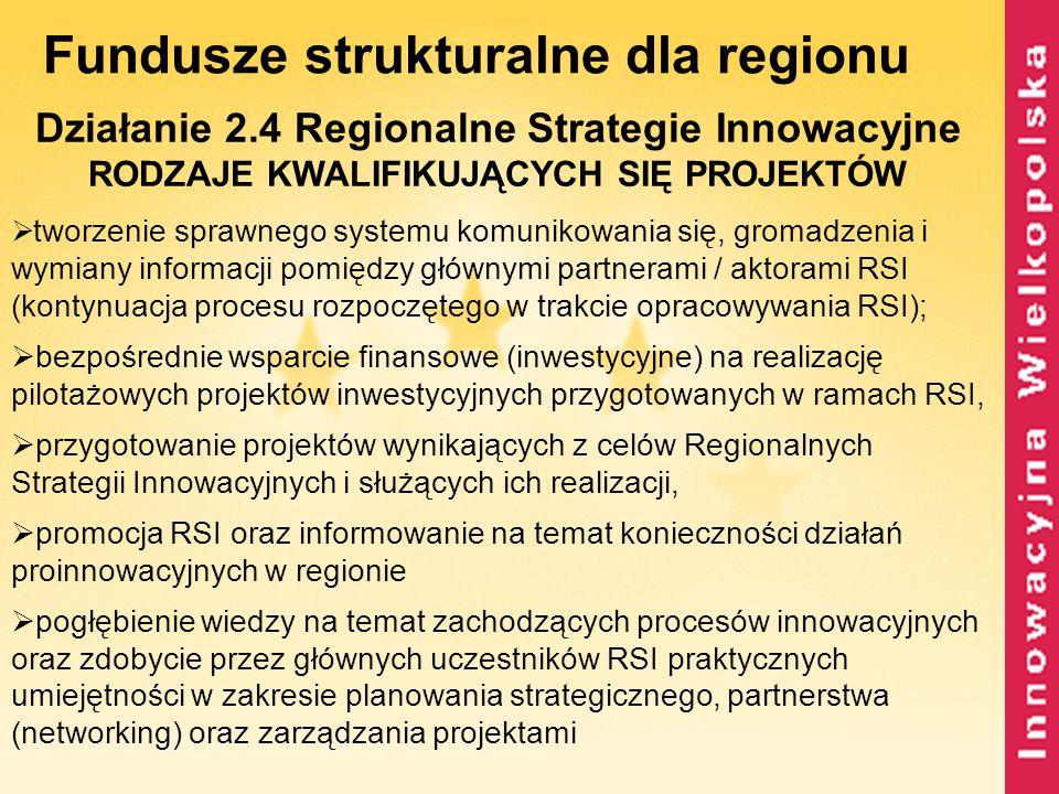 Fundusze strukturalne dla regionu Działanie 2.4 Regionalne Strategie Innowacyjne RODZAJE KWALIFIKUJĄCYCH SIĘ PROJEKTÓW  tworzenie sprawnego systemu k