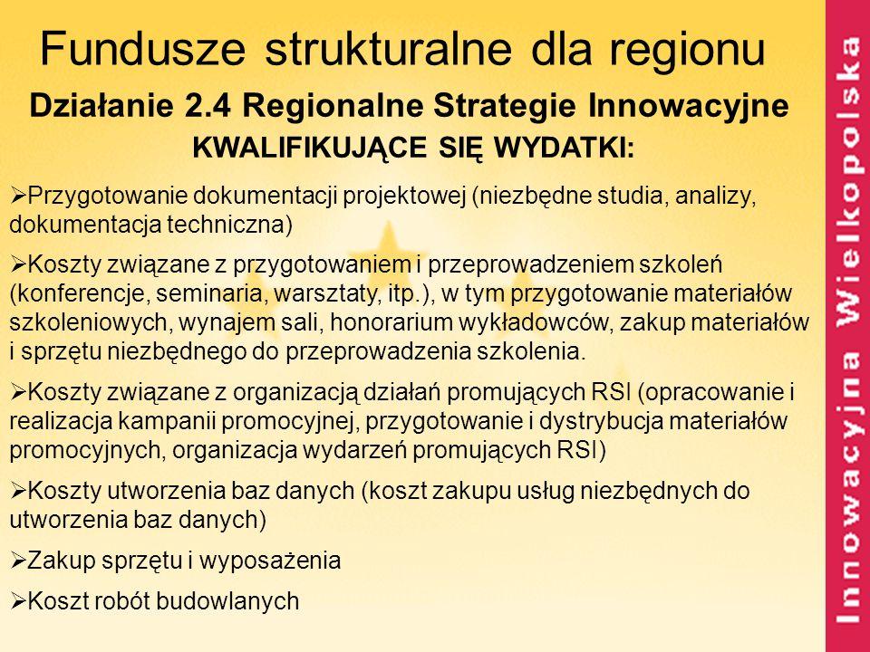 Fundusze strukturalne dla regionu Działanie 2.4 Regionalne Strategie Innowacyjne KWALIFIKUJĄCE SIĘ WYDATKI:  Przygotowanie dokumentacji projektowej (