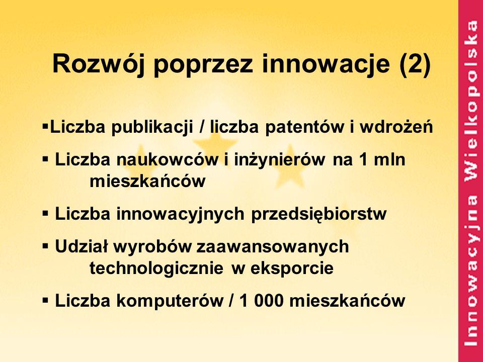 Rozwój poprzez innowacje (2)  Liczba publikacji / liczba patentów i wdrożeń  Liczba naukowców i inżynierów na 1 mln mieszkańców  Liczba innowacyjny