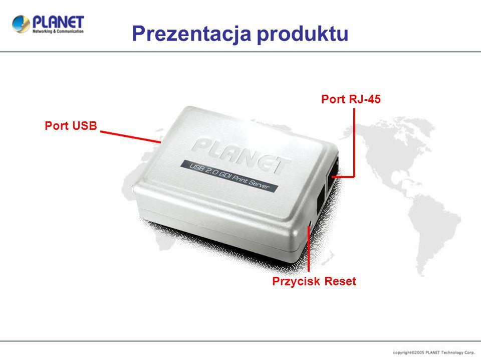 Prezentacja produktu Port USB Port RJ-45 Przycisk Reset