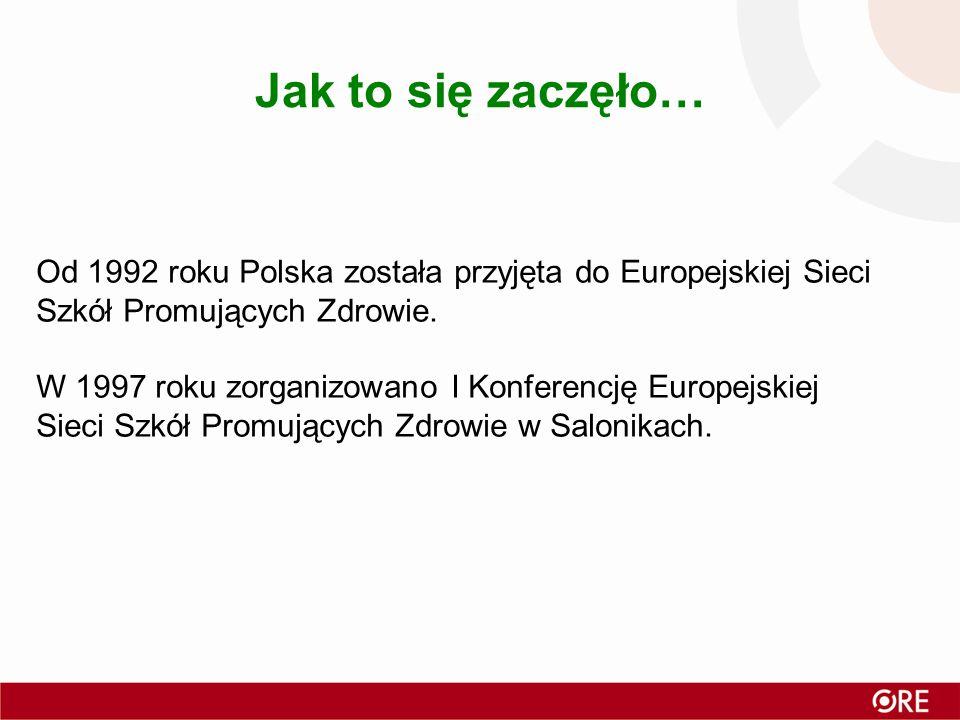 Jak to się zaczęło… Od 1992 roku Polska została przyjęta do Europejskiej Sieci Szkół Promujących Zdrowie.