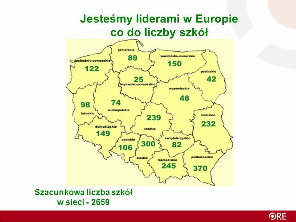 Jesteśmy liderami w Europie co do liczby szkół Szacunkowa liczba szkół w sieci - 2659