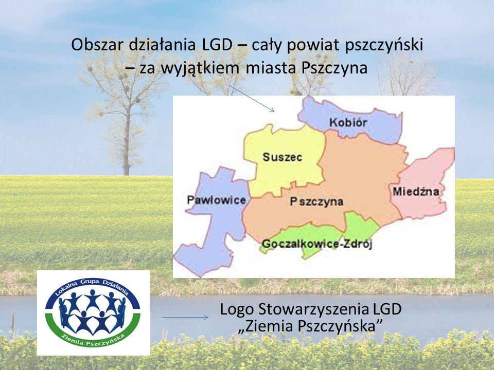 """Obszar działania LGD – cały powiat pszczyński – za wyjątkiem miasta Pszczyna Logo Stowarzyszenia LGD """"Ziemia Pszczyńska"""
