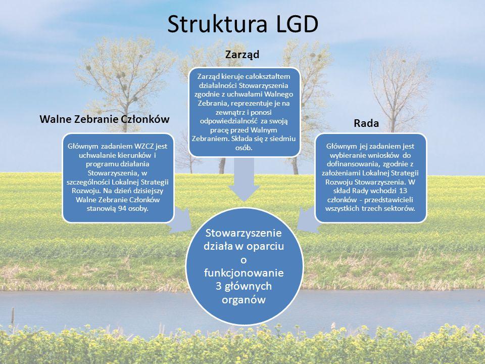 Struktura LGD Stowarzyszenie działa w oparciu o funkcjonowanie 3 głównych organów Głównym zadaniem WZCZ jest uchwalanie kierunków i programu działania Stowarzyszenia, w szczególności Lokalnej Strategii Rozwoju.