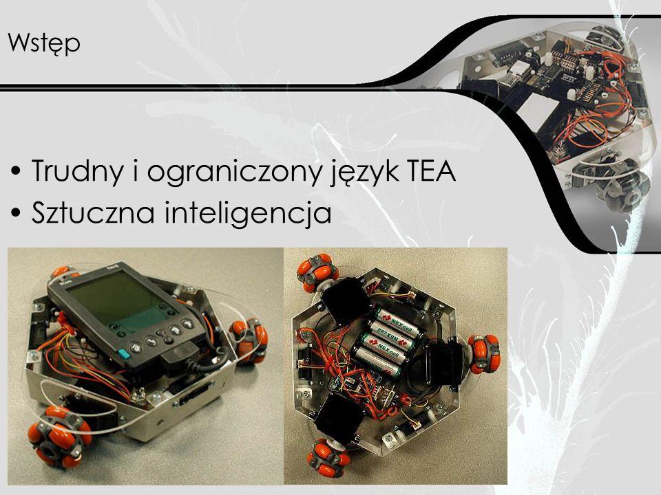 Architektura Moduł GP –40 MHz RISC processor –przechowanie do 11 programów TEA –równoległa obsługa do 4 wątków TEA –architektura reflexów –wykonanie 9000 instrukcji na sekundę –dostęp do urządzeń I/O przez zestaw komend