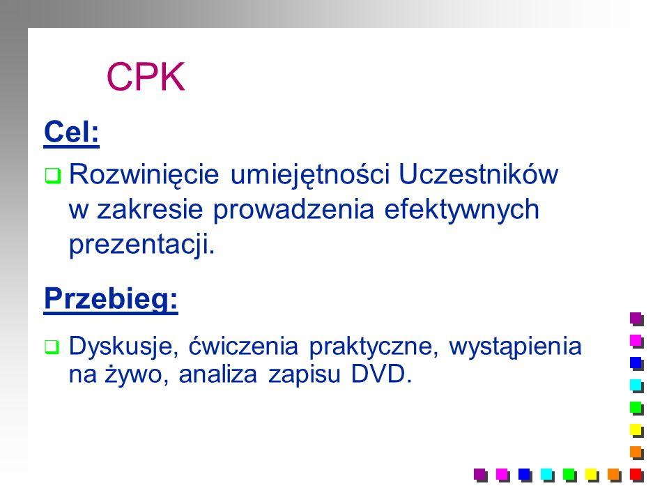 CPK Cel:  Rozwinięcie umiejętności Uczestników w zakresie prowadzenia efektywnych prezentacji.