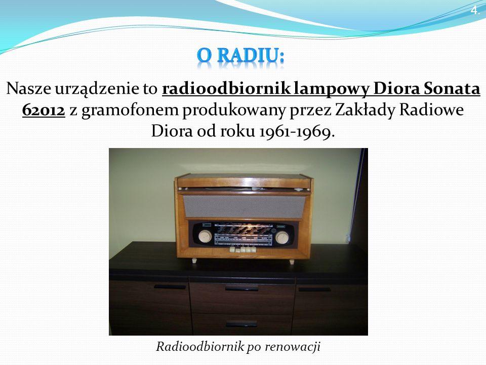 Nasze urządzenie to radioodbiornik lampowy Diora Sonata 62012 z gramofonem produkowany przez Zakłady Radiowe Diora od roku 1961-1969.