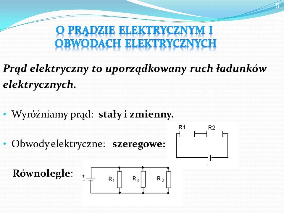 Prąd elektryczny to uporządkowany ruch ładunków elektrycznych.