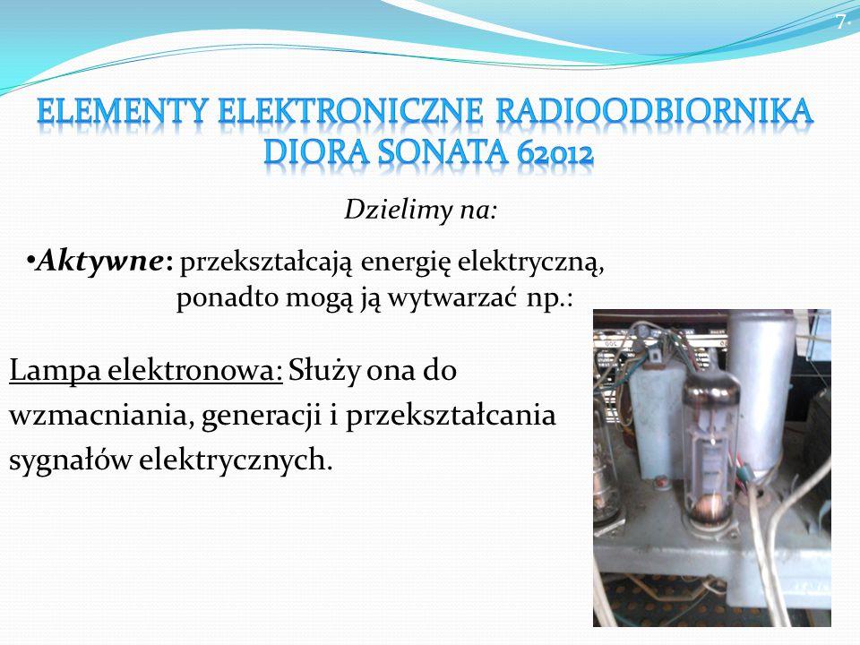 7. Lampa elektronowa: Służy ona do wzmacniania, generacji i przekształcania sygnałów elektrycznych.