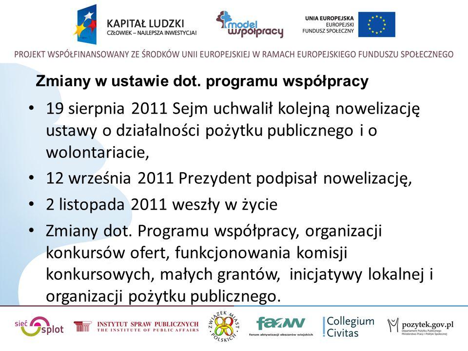 Zmiany w ustawie dot. programu współpracy 19 sierpnia 2011 Sejm uchwalił kolejną nowelizację ustawy o działalności pożytku publicznego i o wolontariac
