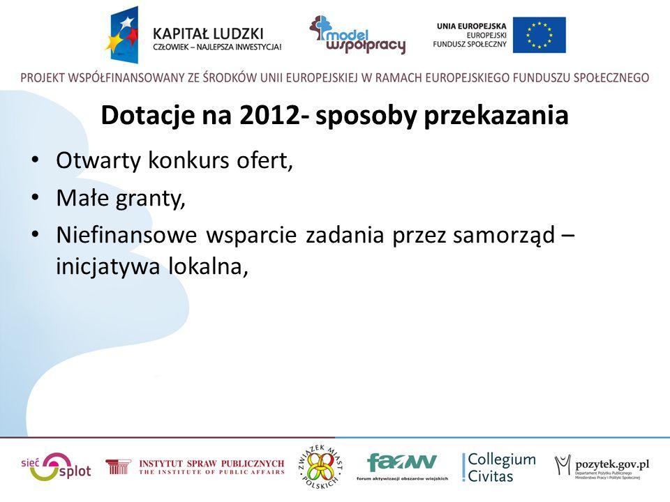 Dotacje na 2012- sposoby przekazania Otwarty konkurs ofert, Małe granty, Niefinansowe wsparcie zadania przez samorząd – inicjatywa lokalna,