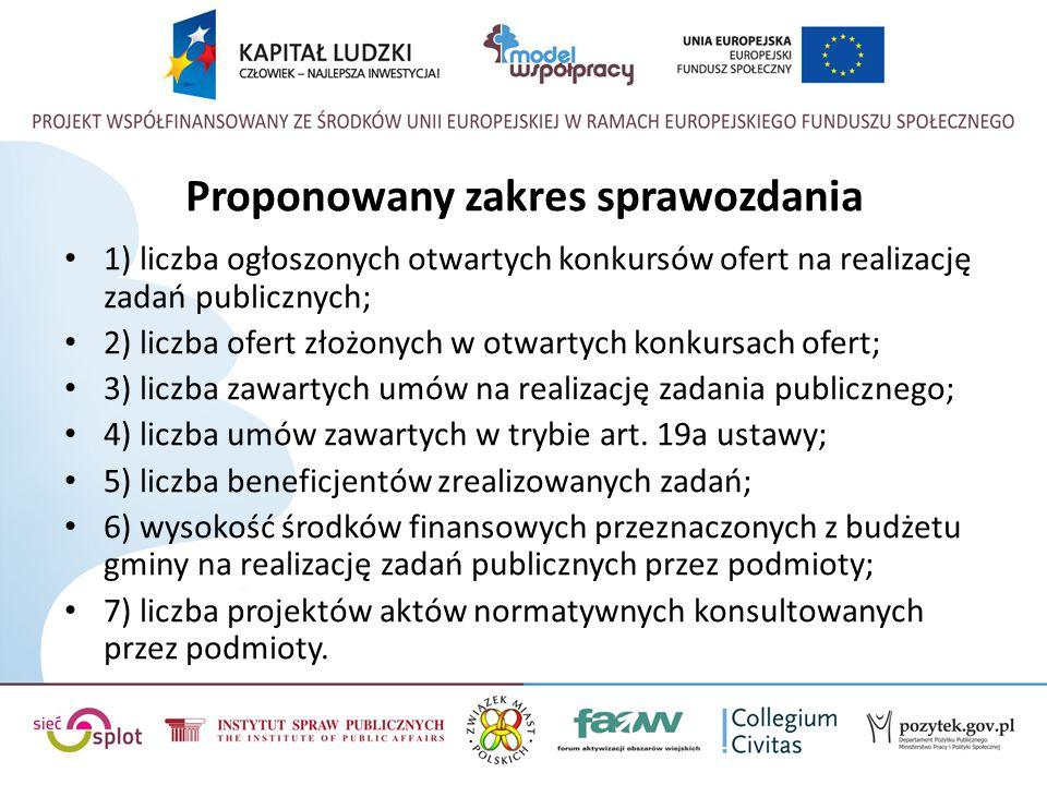 Proponowany zakres sprawozdania 1) liczba ogłoszonych otwartych konkursów ofert na realizację zadań publicznych; 2) liczba ofert złożonych w otwartych
