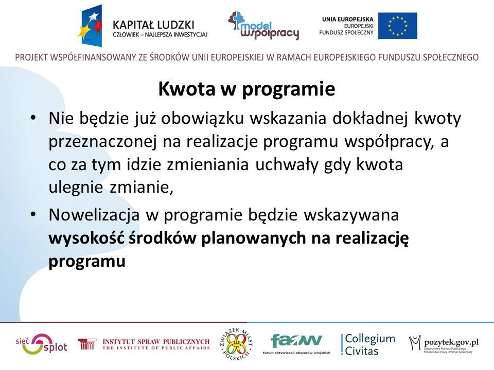 Kwota w programie Nie będzie już obowiązku wskazania dokładnej kwoty przeznaczonej na realizacje programu współpracy, a co za tym idzie zmieniania uchwały gdy kwota ulegnie zmianie, Nowelizacja w programie będzie wskazywana wysokość środków planowanych na realizację programu