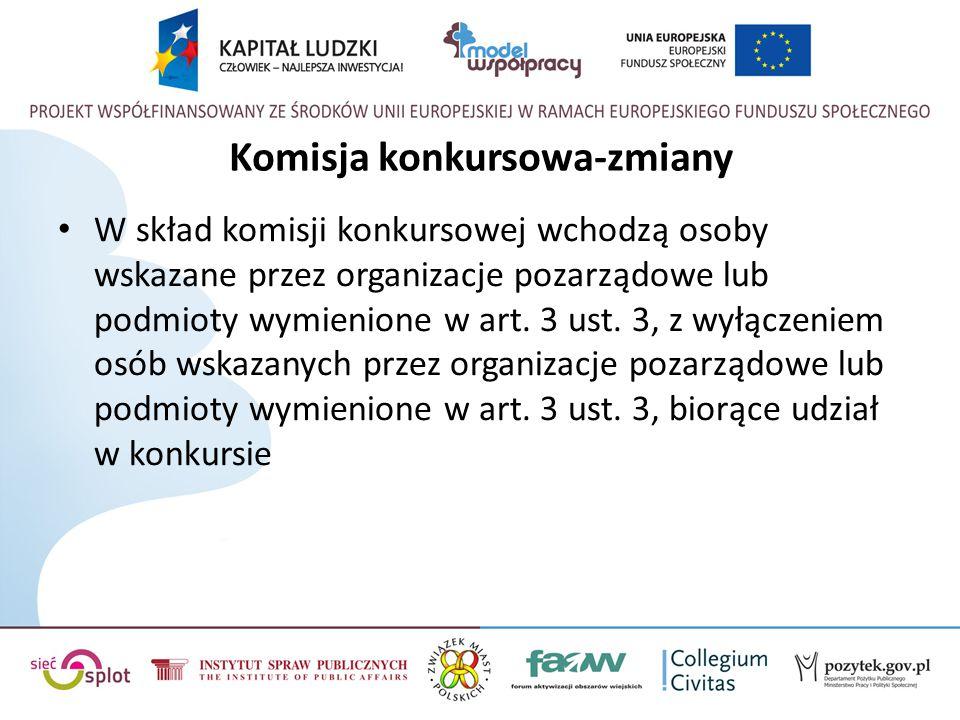 Komisja konkursowa-zmiany W skład komisji konkursowej wchodzą osoby wskazane przez organizacje pozarządowe lub podmioty wymienione w art. 3 ust. 3, z