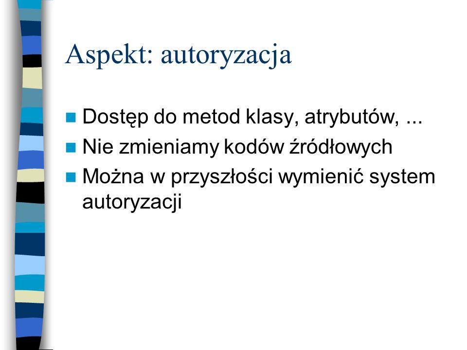 Aspekt: autoryzacja Dostęp do metod klasy, atrybutów,...