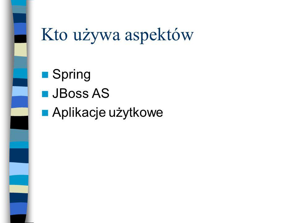 Kto używa aspektów Spring JBoss AS Aplikacje użytkowe