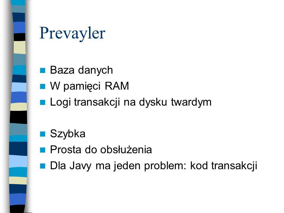 Baza danych W pamięci RAM Logi transakcji na dysku twardym Szybka Prosta do obsłużenia Dla Javy ma jeden problem: kod transakcji