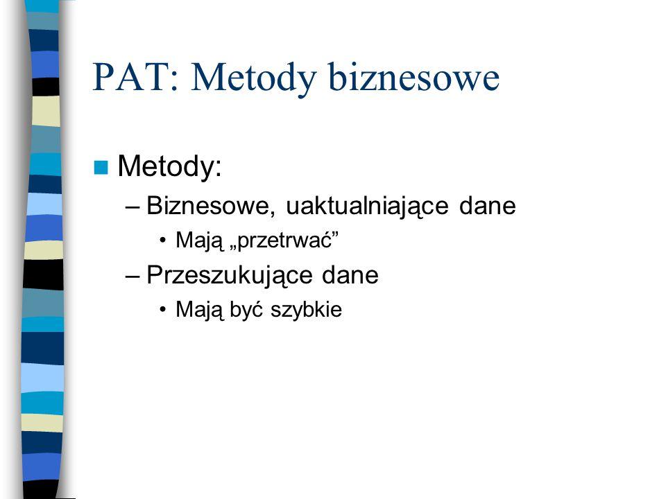 """PAT: Metody biznesowe Metody: –Biznesowe, uaktualniające dane Mają """"przetrwać –Przeszukujące dane Mają być szybkie"""