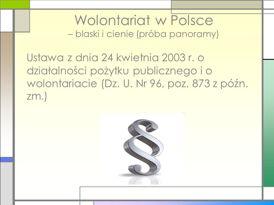 Wolontariat w Polsce – blaski i cienie (próba panoramy) Ustawa z dnia 24 kwietnia 2003 r. o działalności pożytku publicznego i o wolontariacie (Dz. U.