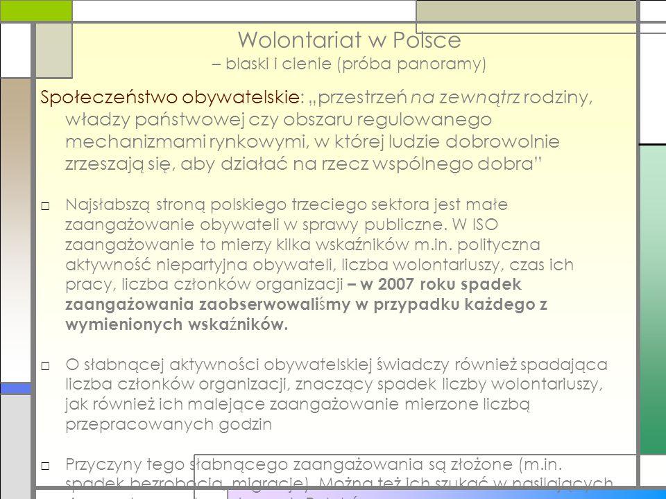"""Wolontariat w Polsce – blaski i cienie (próba panoramy) Społeczeństwo obywatelskie: """"przestrzeń na zewnątrz rodziny, władzy państwowej czy obszaru reg"""