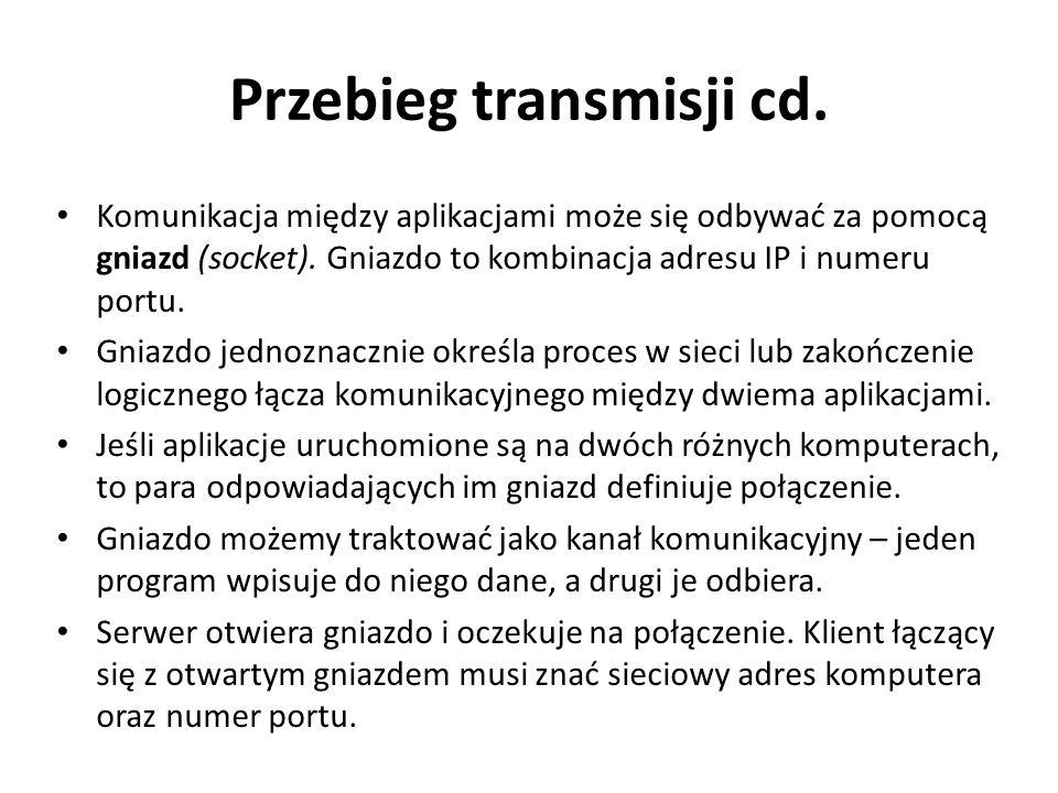 Przebieg transmisji cd. Komunikacja między aplikacjami może się odbywać za pomocą gniazd (socket). Gniazdo to kombinacja adresu IP i numeru portu. Gni
