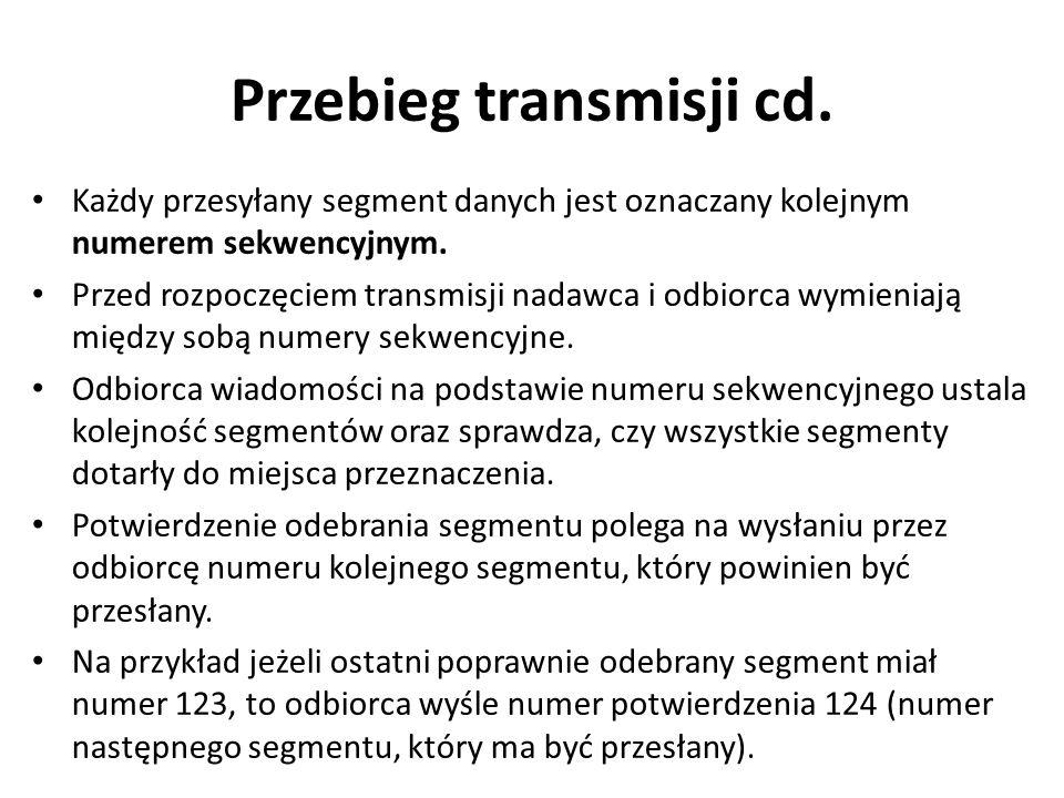 Przebieg transmisji cd. Każdy przesyłany segment danych jest oznaczany kolejnym numerem sekwencyjnym. Przed rozpoczęciem transmisji nadawca i odbiorca