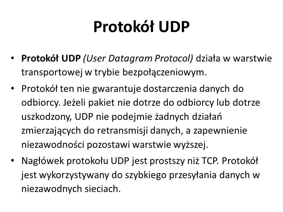 Protokół UDP Protokół UDP (User Datagram Protocol) działa w warstwie transportowej w trybie bezpołączeniowym. Protokół ten nie gwarantuje dostarczenia