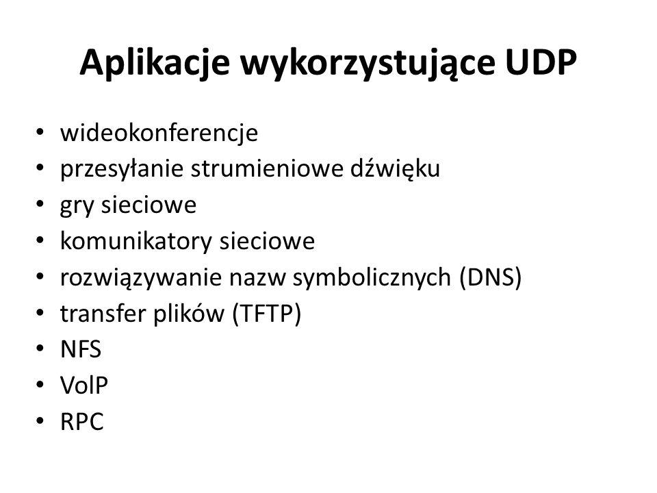 Aplikacje wykorzystujące UDP wideokonferencje przesyłanie strumieniowe dźwięku gry sieciowe komunikatory sieciowe rozwiązywanie nazw symbolicznych (DN