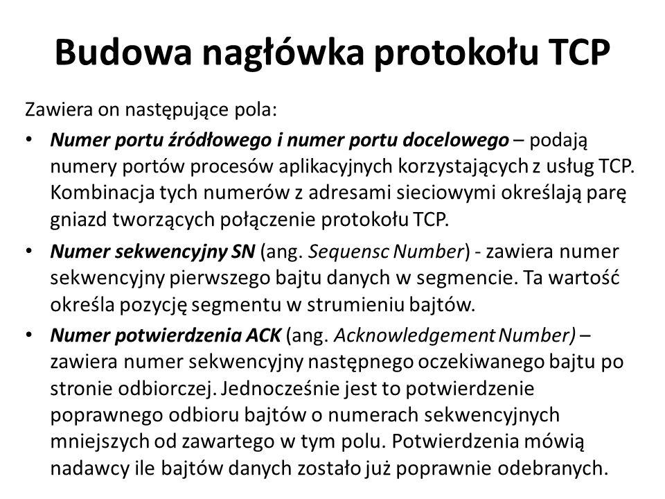 Zawiera on następujące pola: Numer portu źródłowego i numer portu docelowego – podają numery portów procesów aplikacyjnych korzystających z usług TCP.