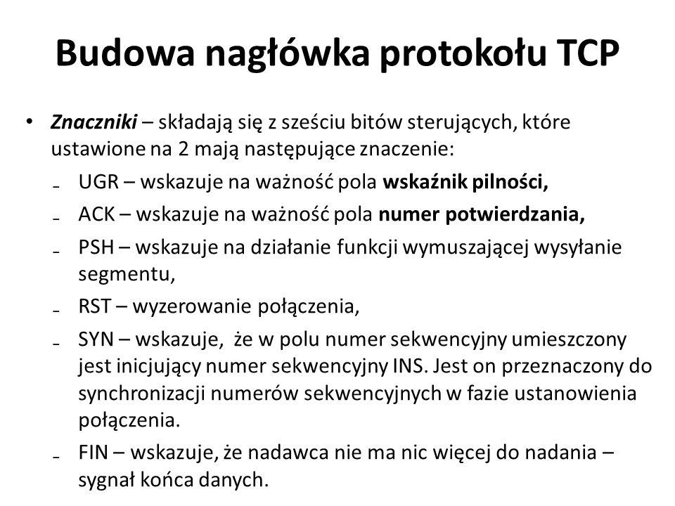Budowa nagłówka protokołu TCP Znaczniki – składają się z sześciu bitów sterujących, które ustawione na 2 mają następujące znaczenie: ₋UGR – wskazuje n