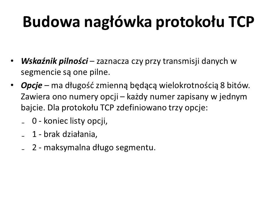 Budowa nagłówka protokołu TCP Wskaźnik pilności – zaznacza czy przy transmisji danych w segmencie są one pilne. Opcje – ma długość zmienną będącą wiel