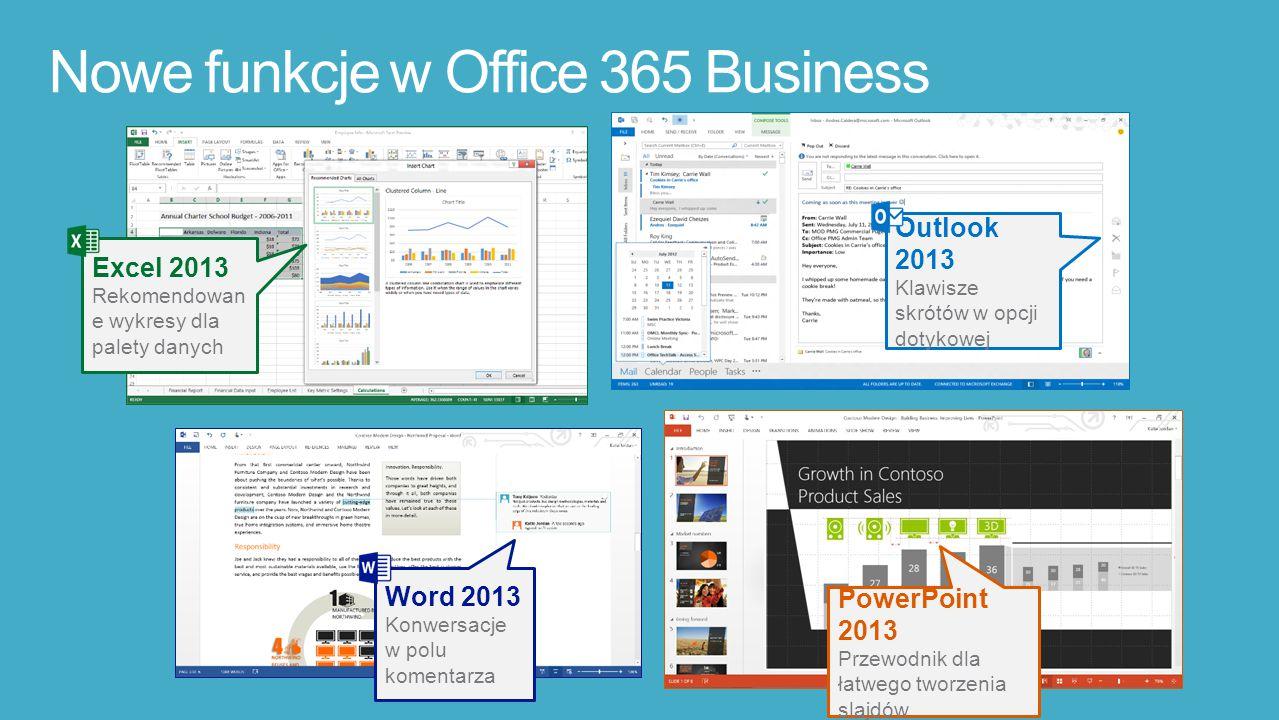 Excel 2013 Rekomendowan e wykresy dla palety danych Outlook 2013 Klawisze skrótów w opcji dotykowej Word 2013 Konwersacje w polu komentarza PowerPoint 2013 Przewodnik dla łatwego tworzenia slajdów Nowe funkcje w Office 365 Business