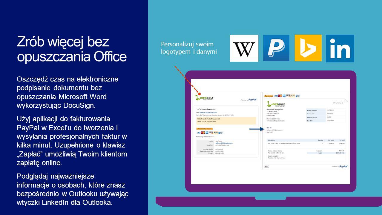 Oszczędź czas na elektroniczne podpisanie dokumentu bez opuszczania Microsoft Word wykorzystując DocuSign. Użyj aplikacji do fakturowania PayPal w Exc