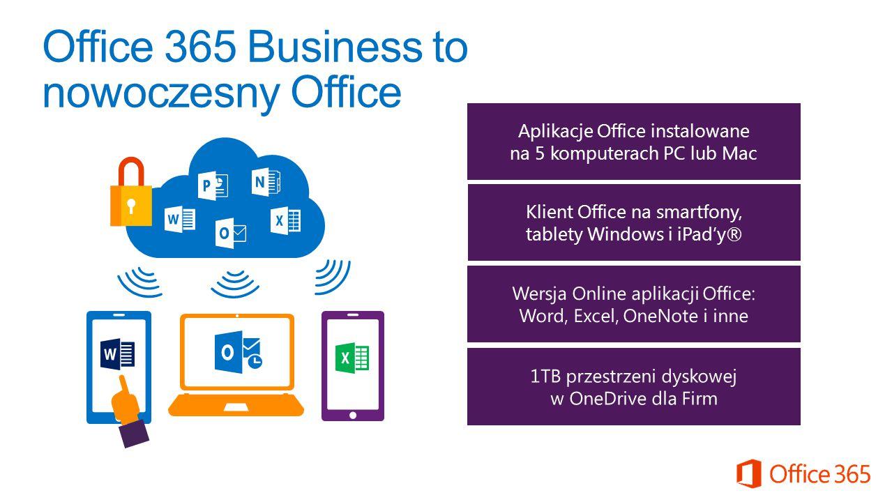 Aplikacje Office instalowane na 5 komputerach PC lub Mac Klient Office na smartfony, tablety Windows i iPad'y® Office 365 Business to nowoczesny Offic