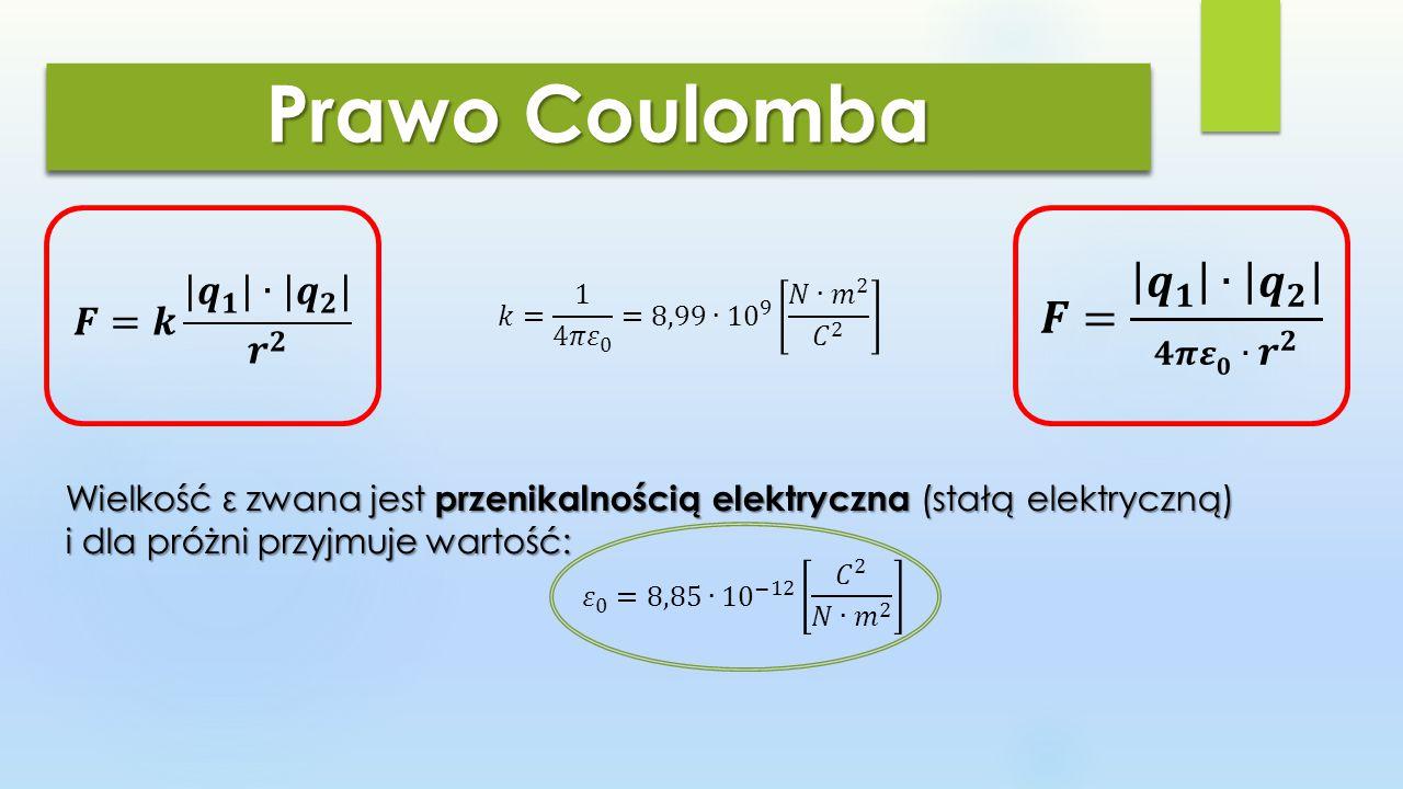 Prawo Coulomba 3 przypadki Oddziaływanie wzajemne dwóch ładunków elektrycznych.
