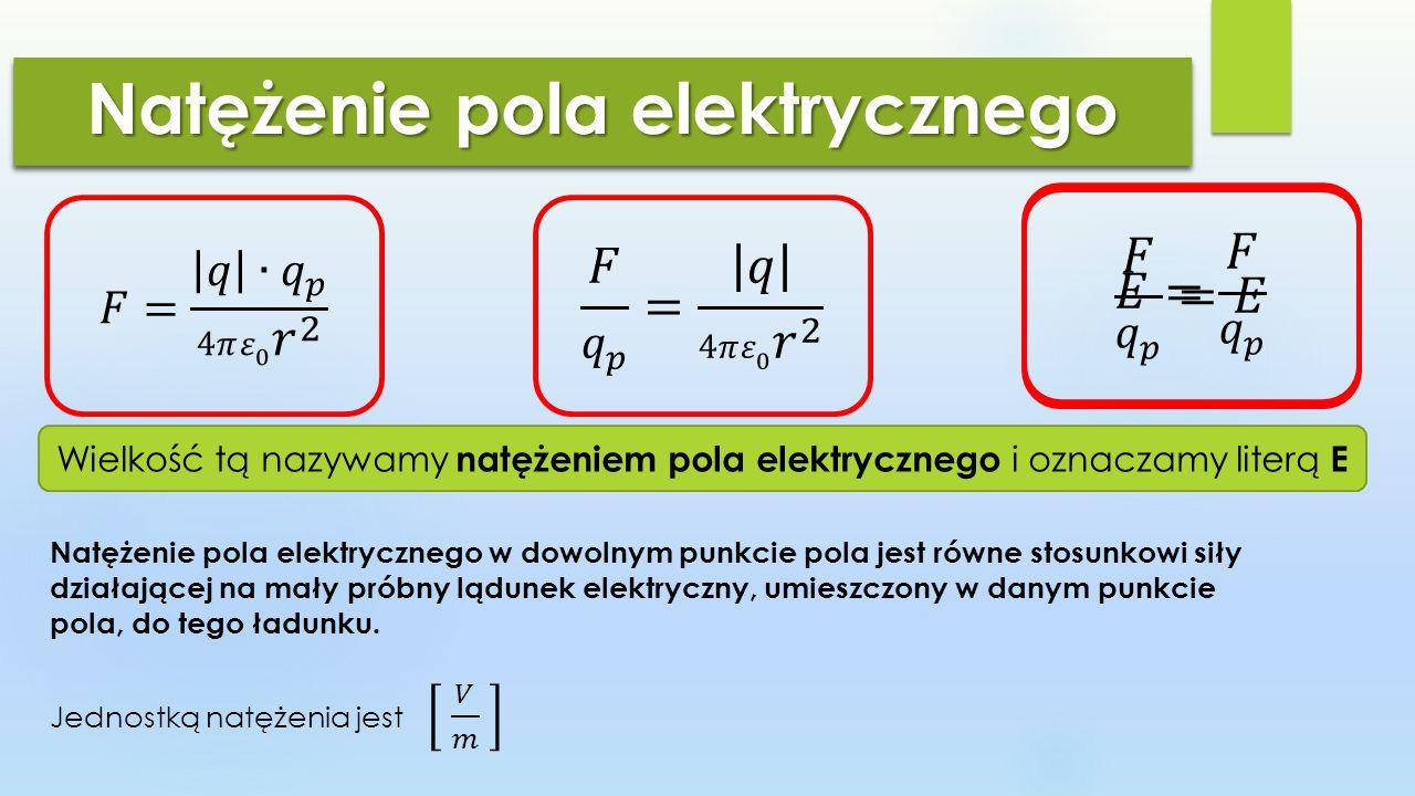 Natężenie pola elektrycznego Wielkość tą nazywamy natężeniem pola elektrycznego i oznaczamy literą E