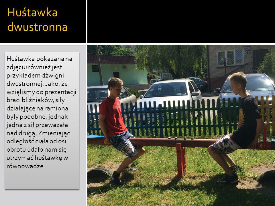 Huśtawka dwustronna Huśtawka pokazana na zdjęciu również jest przykładem dźwigni dwustronnej. Jako, że wzięliśmy do prezentacji braci bliźniaków, siły