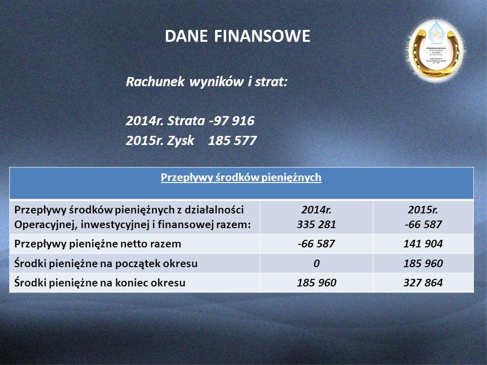 DANE FINANSOWE Rachunek wyników i strat: 2014r.Strata -97 916 2015r.