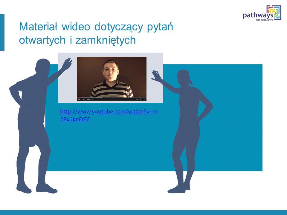 Materiał wideo dotyczący pytań otwartych i zamkniętych http://www.youtube.com/watch?v=m 2Rx6knErFE