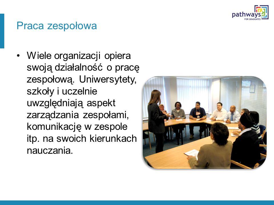 Praca zespołowa Wiele organizacji opiera swoją działalność o pracę zespołową. Uniwersytety, szkoły i uczelnie uwzględniają aspekt zarządzania zespołam