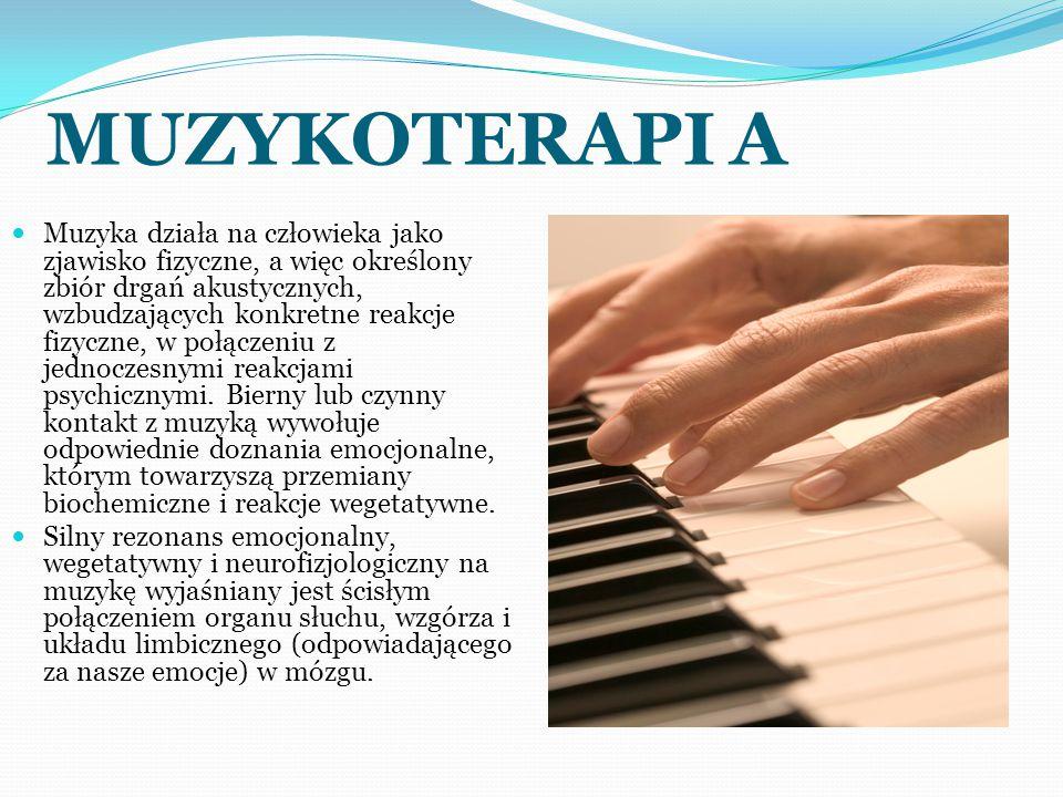 MUZYKOTERAPI A Muzyka działa na człowieka jako zjawisko fizyczne, a więc określony zbiór drgań akustycznych, wzbudzających konkretne reakcje fizyczne, w połączeniu z jednoczesnymi reakcjami psychicznymi.
