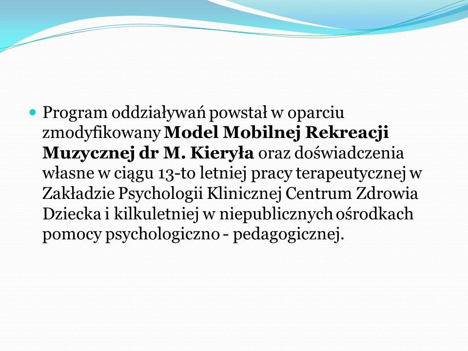 Program oddziaływań powstał w oparciu zmodyfikowany Model Mobilnej Rekreacji Muzycznej dr M.