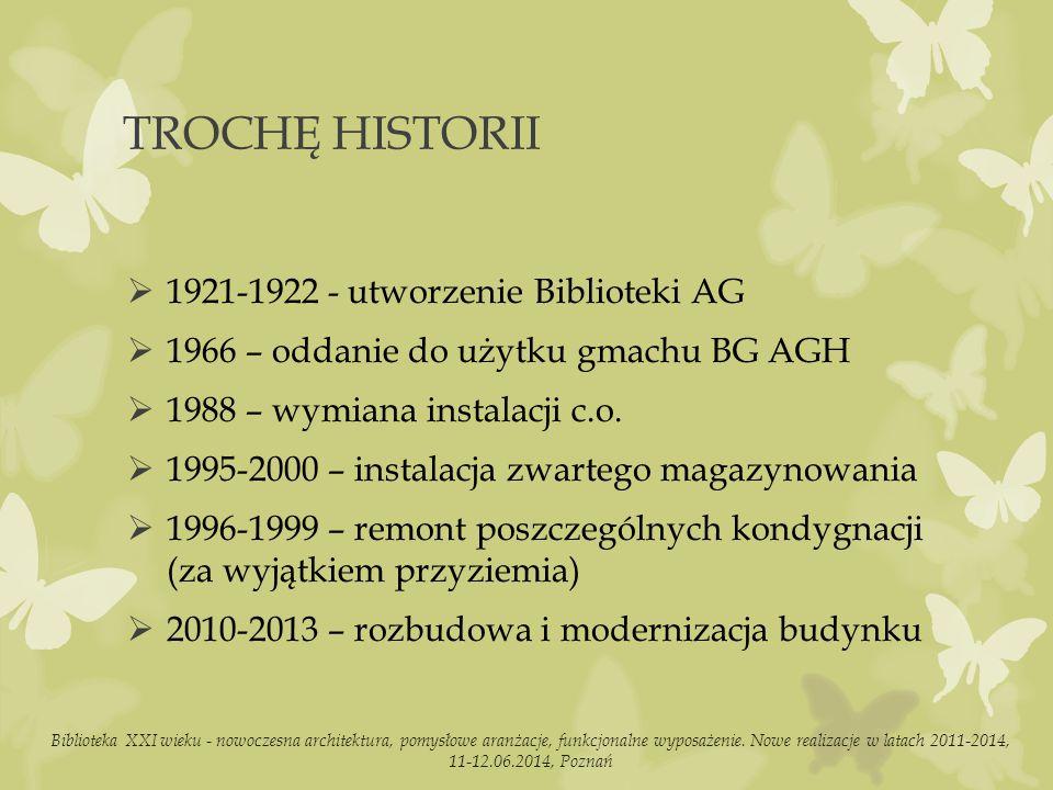 TROCHĘ HISTORII  1921-1922 - utworzenie Biblioteki AG  1966 – oddanie do użytku gmachu BG AGH  1988 – wymiana instalacji c.o.
