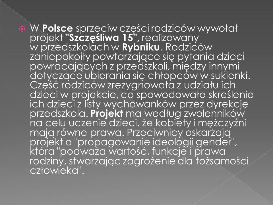  W Polsce sprzeciw części rodziców wywołał projekt