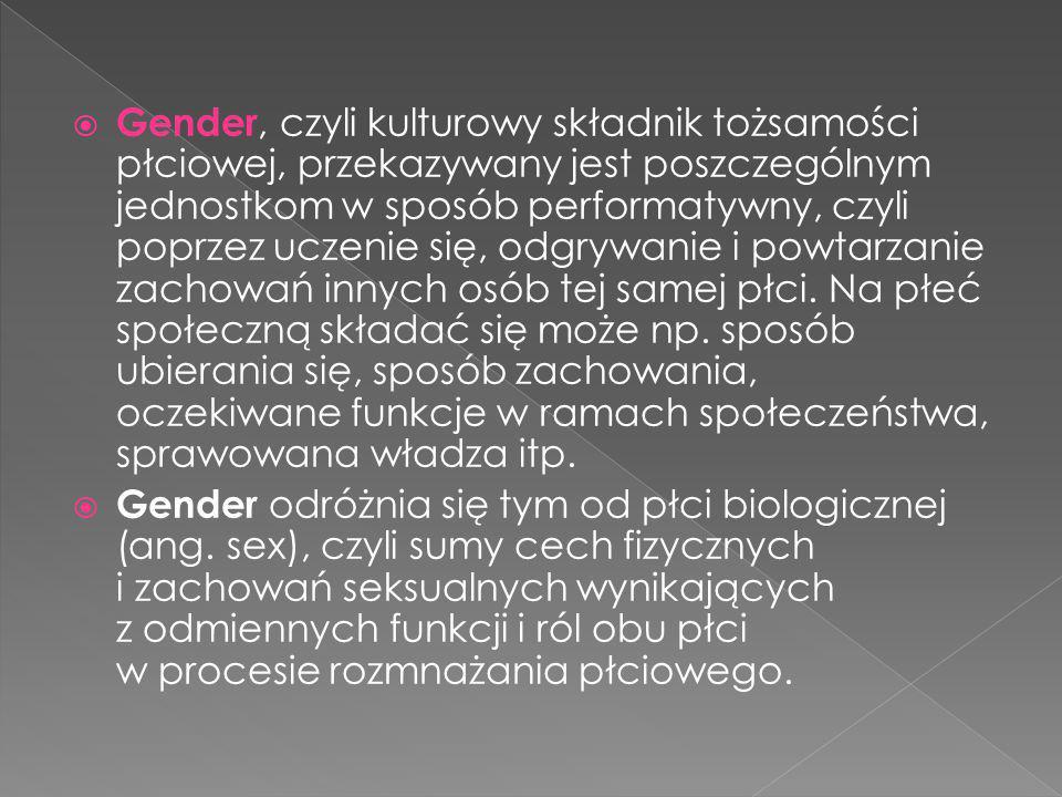  Gender, czyli kulturowy składnik tożsamości płciowej, przekazywany jest poszczególnym jednostkom w sposób performatywny, czyli poprzez uczenie się,