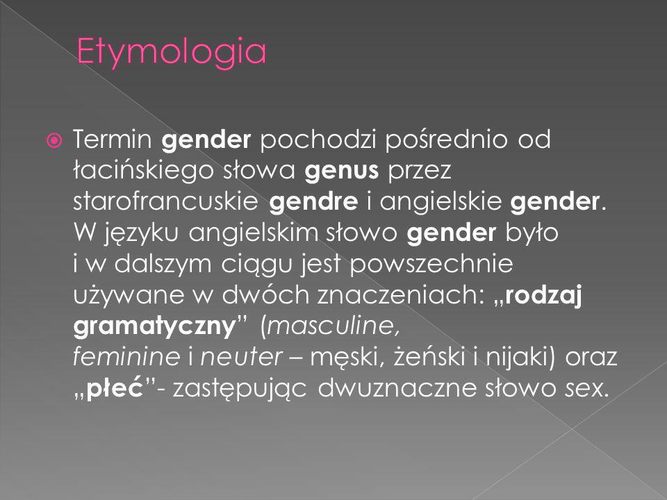  Termin gender pochodzi pośrednio od łacińskiego słowa genus przez starofrancuskie gendre i angielskie gender. W języku angielskim słowo gender było