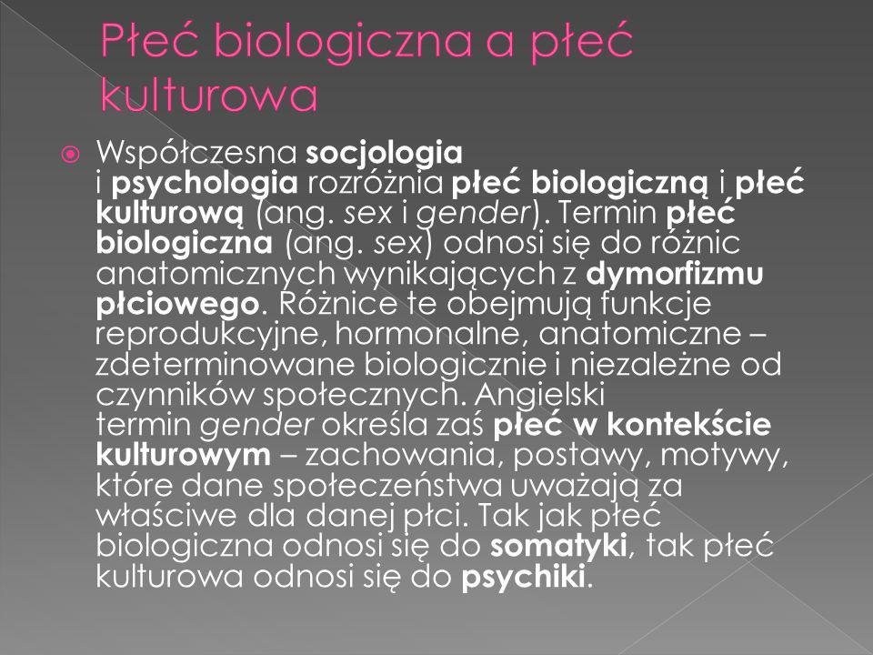  Współczesna socjologia i psychologia rozróżnia płeć biologiczną i płeć kulturową (ang. sex i gender). Termin płeć biologiczna (ang. sex) odnosi się